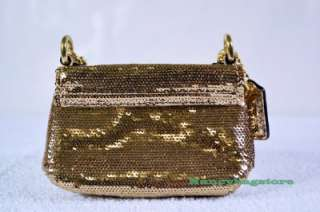 NWT Coach 46797 Poppy Sequins Mini Turnlock Flap Coin Purse Handbag