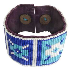Turquoise White Seed Beaded Cuff Bracelet Leather B 39 SB 1