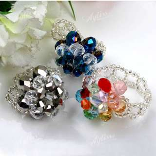 19xMix Color Crystal Glass Hand Knit Flower Finger Ring