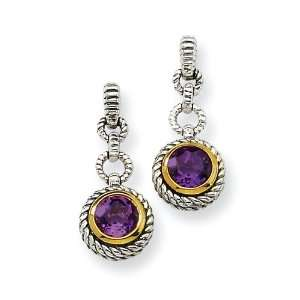 Sterling Silver W/Gold Plated 1.50amethyst Earrings Shey