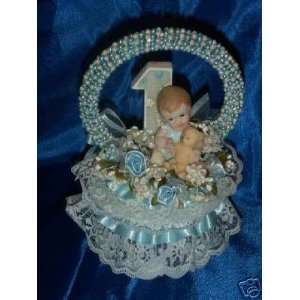Baby Boy First Birthday Cake Top 8 Inches Tall: Everything