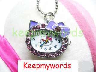 DBS Hello Kitty Czech Stones Crystal Necklace Pendant Pocket Watch