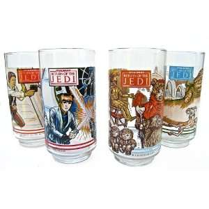 of 4 RETURN OF THE JEDI Glasses Burger King 1983 NEW