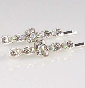 CLEAR & AB RHINESTONE Flower Hair Accessory Bobby Pin Clip