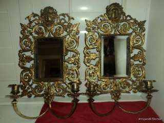 Bronze Gold GILT Victorian Mirrored Candle Wall Sconces 1800s