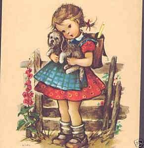 CUTE GIRL HUGS PUPPY DOG,APRON,HILDE,W. GERMAN POSTCARD