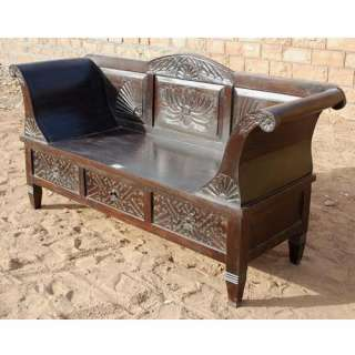 Mahogany Hand Carved Solid Wood Bench Sofa Couch Loveseat Garden Chair