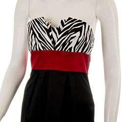 Womens Strapless Zebra Print Black/ Red Party Dress