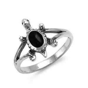 SR443 Sterling Silver Black Onyx Turtle Ring  Size 4 to 9