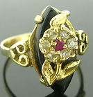 14 KT SOLID YELLOW GOLD RUBY AND DIAMOND RING