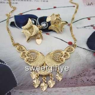 Elegant Engagement 24k Gold filled WOMENS necklace/earrings sets