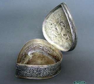 Persian Silver Love Peacocks Heart Jewelry Box Ca 1900