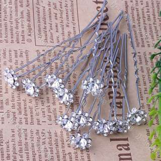 10pc White Flower Crystal Wedding Accessory Hair Pin