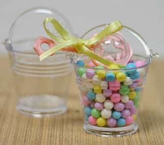 48  Mini Clear Plastic Favor Pail Shower/Wedding Favors