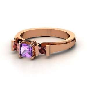 Blair Ring, Princess Amethyst 14K Rose Gold Ring with Red