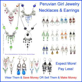 14 NECKLACES EARRINGS GLASS PERU JEWELRY PERUVIAN LOT