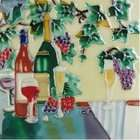 CCW Wine Bole Glass Grapes Decoraive Ceramic Wall Ar ile 8x8