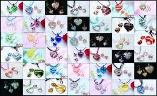 42Sets Heart Lampwork Glass Pendant Necklaces&Earrings