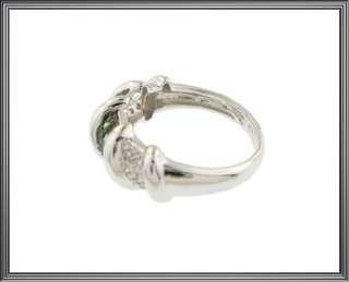 Ladies 14K Solid White Gold Green Garnet & Diamond Ring