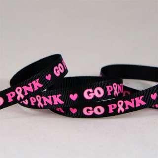 Aware Go Pink Breast Cancer Awareness Grosgrain Ribbon U Pick