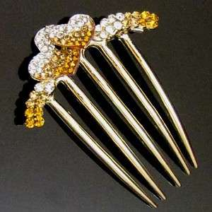 SHIPPING 1pc rhinestone crystal hearts French twist hair comb