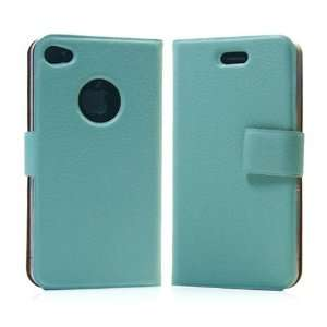 com Light Green / PU Leather Flip Case for Apple iPhone 4+Free Screen