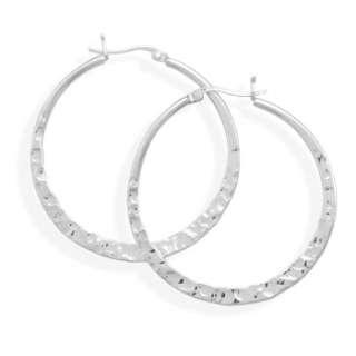 925 Sterling Silver 42mm Large Hammered Hoops Earrings