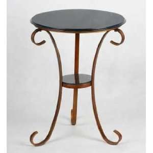 Round Mtl End Table Grey Blue Home & Kitchen