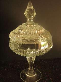 Indiana Glass Crystal Diamond Point Compote w/Lid