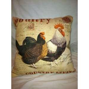 Southern Charm Style Pillow with Chickens