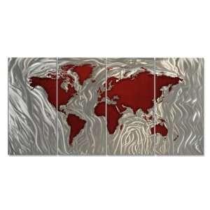 World Map Wall Art Modern Metal Sculpture décor by Ash