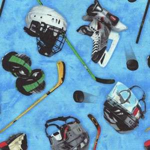 HOCKEY EQUIPMENT SKATES ETC ON LT BLUE Cotton Fabric BTY for Quilting