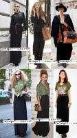 L56 WOMEN LONG SKIRT BLACK GREEN MODAL FULL LENGTH NWT