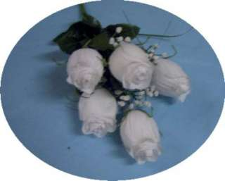 Large Dew Covered White Silk Rose Bud Flowers 0951