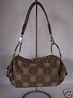 KATHY VAN ZEELAND hobo TAN HANDBAG PURSE stud RHINESTON
