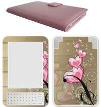 Kindle 3 Genuine Leather Case & Decal Skin Bundle