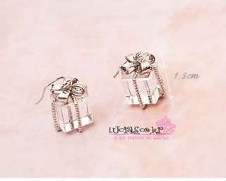 Bowknot Gift Box Crystal Earring Korean Jewelry Wholesale Price
