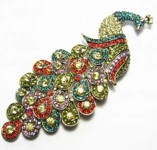 LARGE PEACOCK FASHION BROOCH PIN PENDANT AUSTRIAN RHINESTONE CRYSTAL