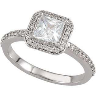 Cut Diamond Halo Engagement Ring White Gold  Pompeii3 Inc. Jewelry