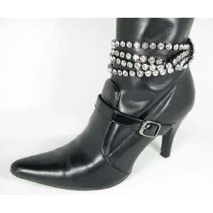 Clear Crystal Boot Jewelry Fashion Gun Metal Layer