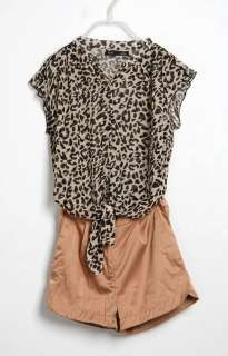 Fashion Womens Chiffon Tops Leopard Print Shirt Jumpsuit Romper Pants