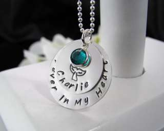 Double Sterling Silver Hand Stamped In Loving Memory Remembrance