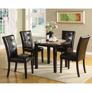 Solid Wood Black Finish 5 Piece Faux Marble Top Dining Table