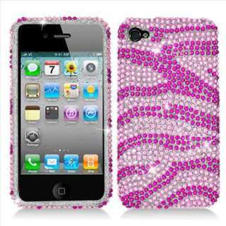 Apple iPhone 4S Sprint Verizon AT&T Pink Zebra Bling Hard Case Cover