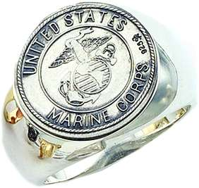 Mens .925 Sterling Silver US Marine Corps Military Ring