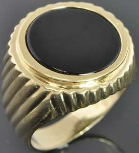 Vintage 14K Yellow Gold 15mm Round Onyx Mens Signet Shrimp Ring 10.5