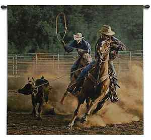 WESTERN COWBOY RODEO HORSES ART TAPESTRY WALL HANGING