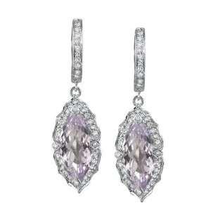 Marquise Purple Amethyst Diamond Earrings Jewelry
