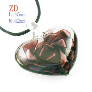 Multi Color Flower Heart Love Lampwork Glass Pendant Chain Necklace