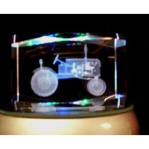 Laser Etched Crystal Cube Tractor Home & Kitchen